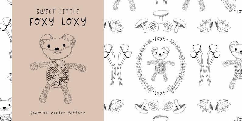 Sweet Little Fox Loxy Seamless Pattern