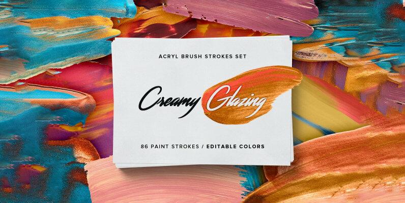 Creamy Glazing   Acryl Brush Strokes