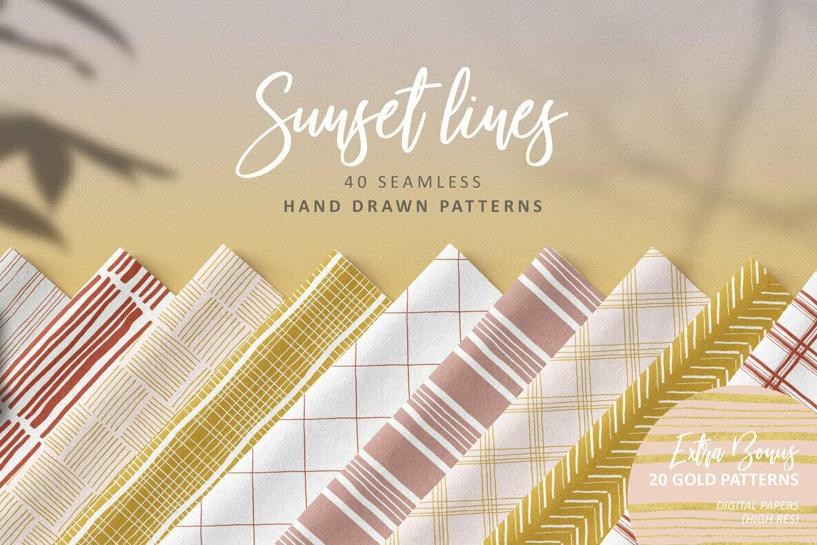 Sunset Lines Hand Drawn Patterns
