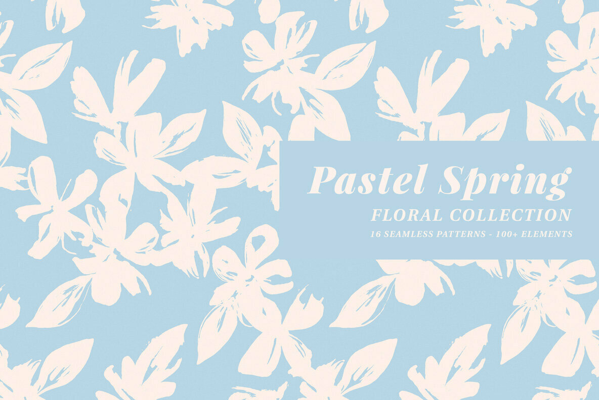 Pastel Spring Patterns Illustrations Floral Collection Graphics