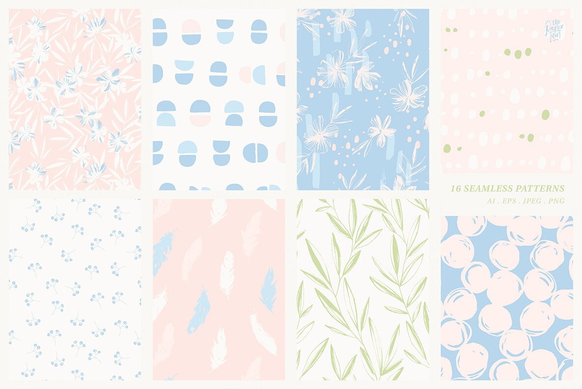 Pastel Spring Patterns   Illustrations Floral Collection