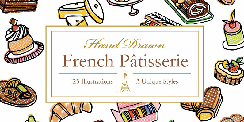 Hand Drawn French Patisserie