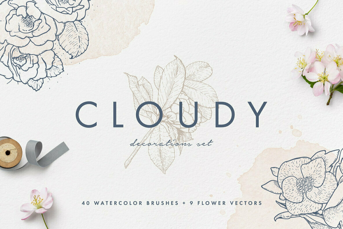 Cloudy Watercolor Decorations Set