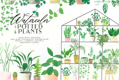 Watercolor Cozy Potted Plants