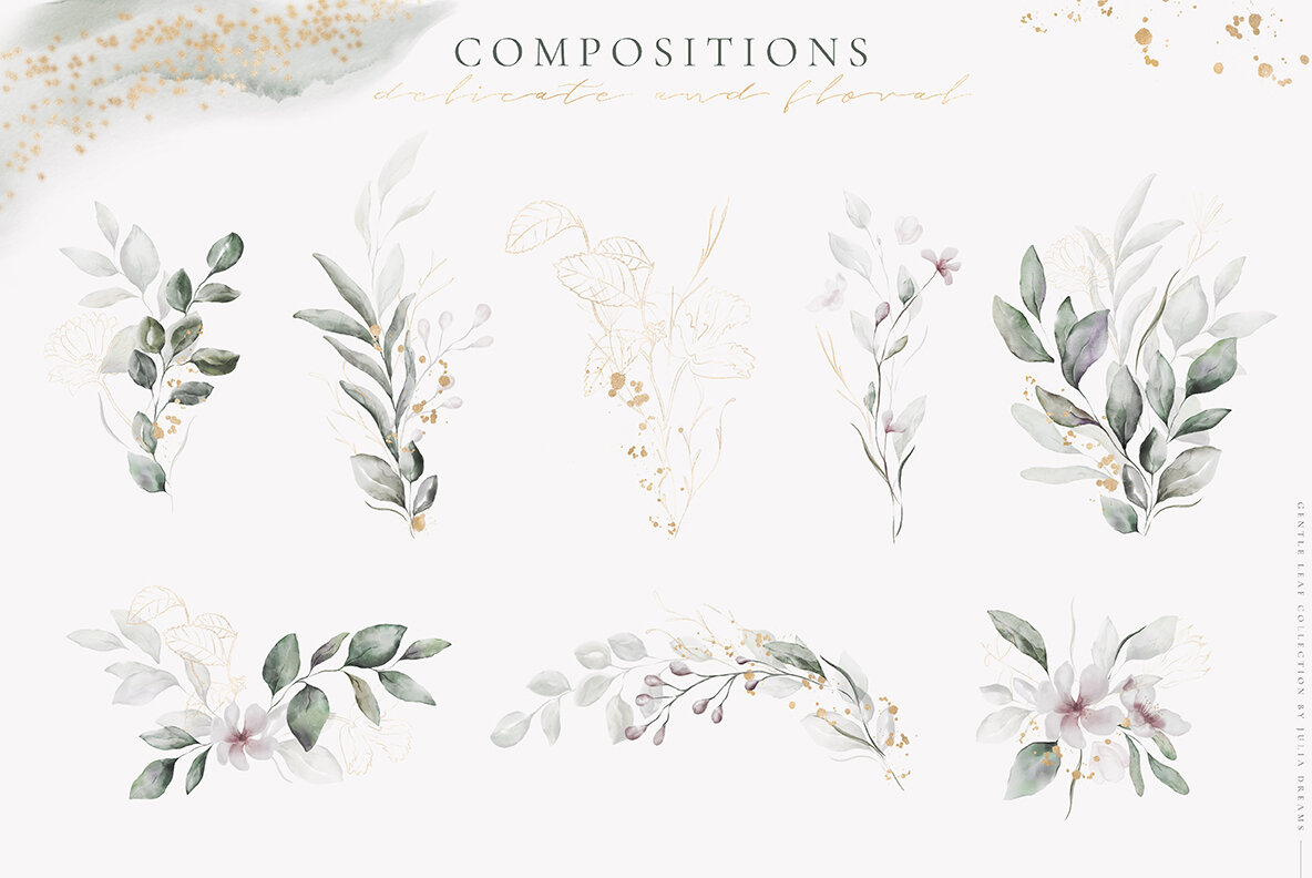 Gentle Leaf Watercolor Collection