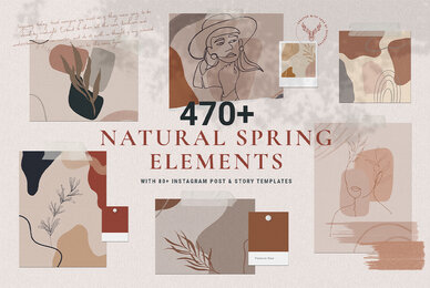 Natural Spring Graphics  Elements With Instagram Templates