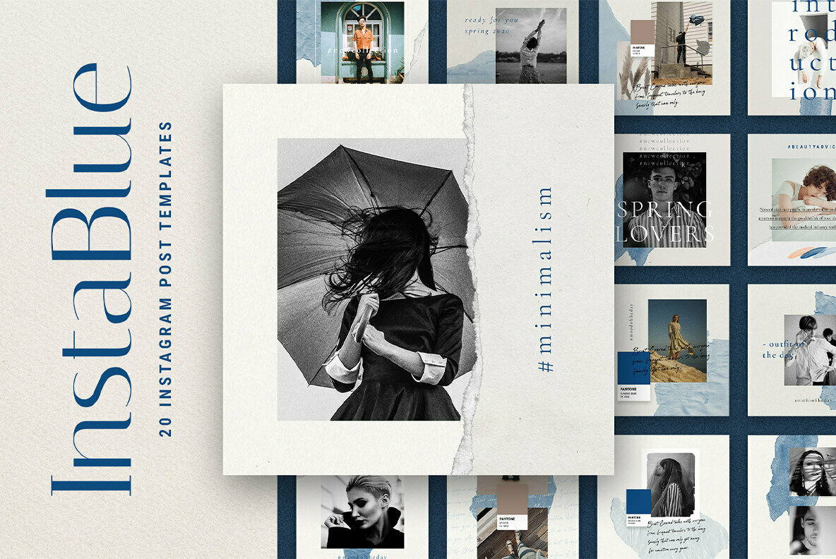 InstaBlue   Minimal Instagram Post Templates