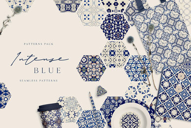 Intense Blue 99 Seamless Patterns