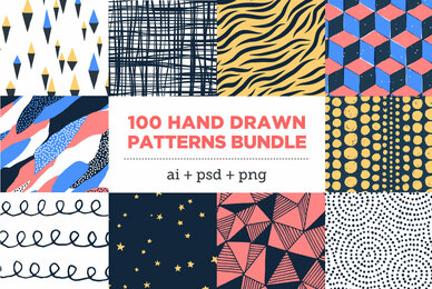 100 HandDrawn Patterns Bundle