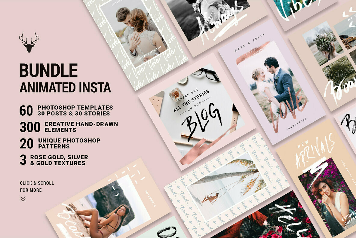 Mini Bundle Animated Instagram Rose Gold Pack