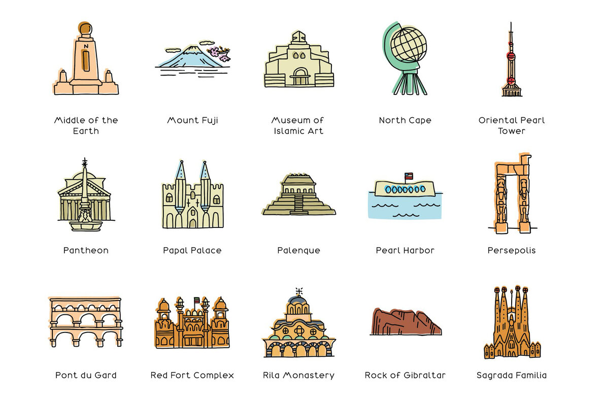 Hand Drawn World Landmarks