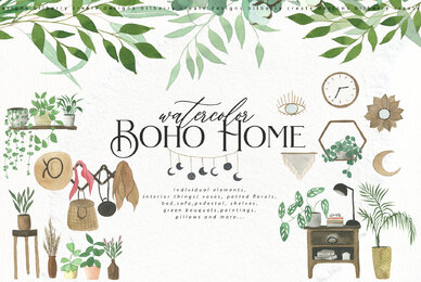 Watercolor Boho Home
