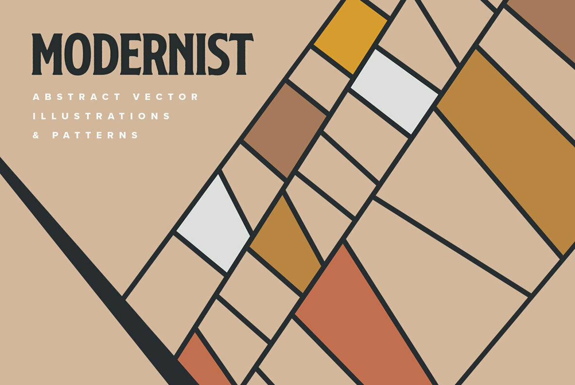 Modernist Abstract Vector and Pattern Set