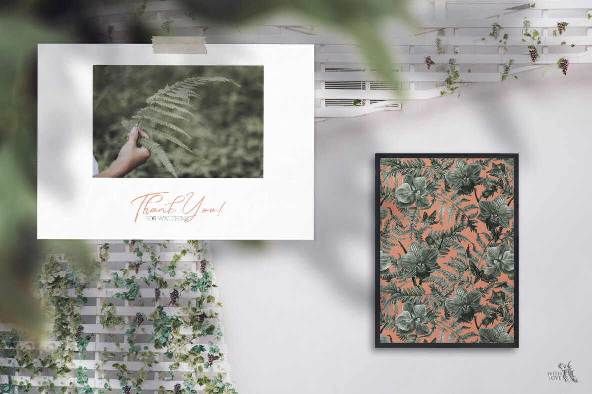 Forest Botanical Watercolor Patterns