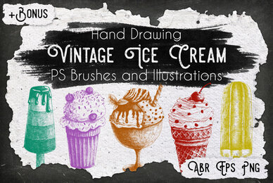 Vintage Ice Cream Ink Brushes