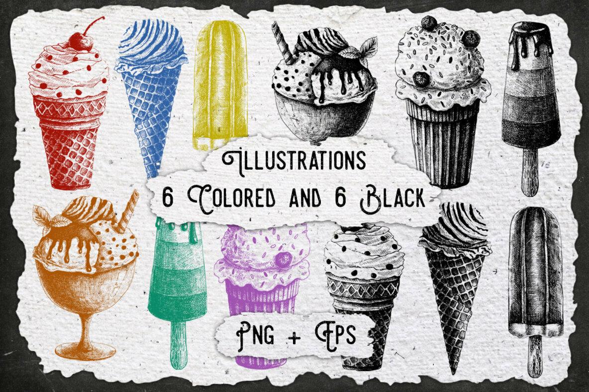 Vintage Ice Cream Ink Brushes