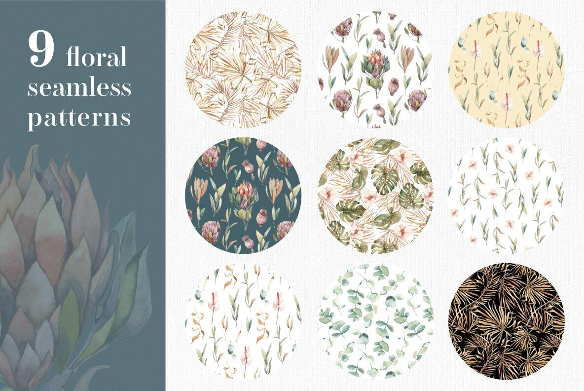 Bohemian Watercolor Plants