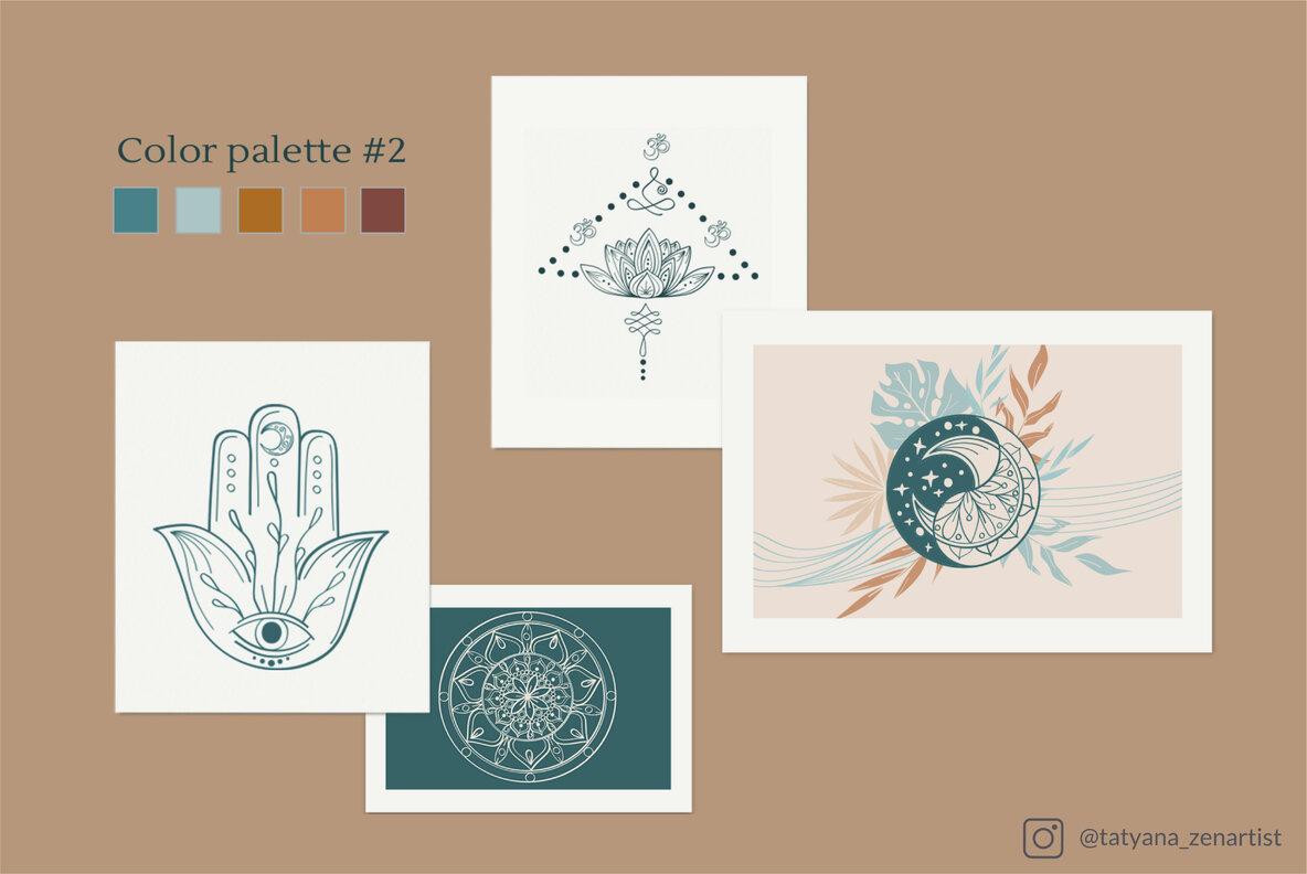 Abstract Linear Yoga and Vector Mandala Collection