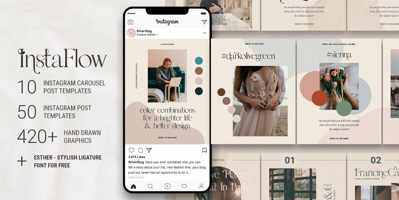 InstaFlow   Instagram Carousel Post Templates