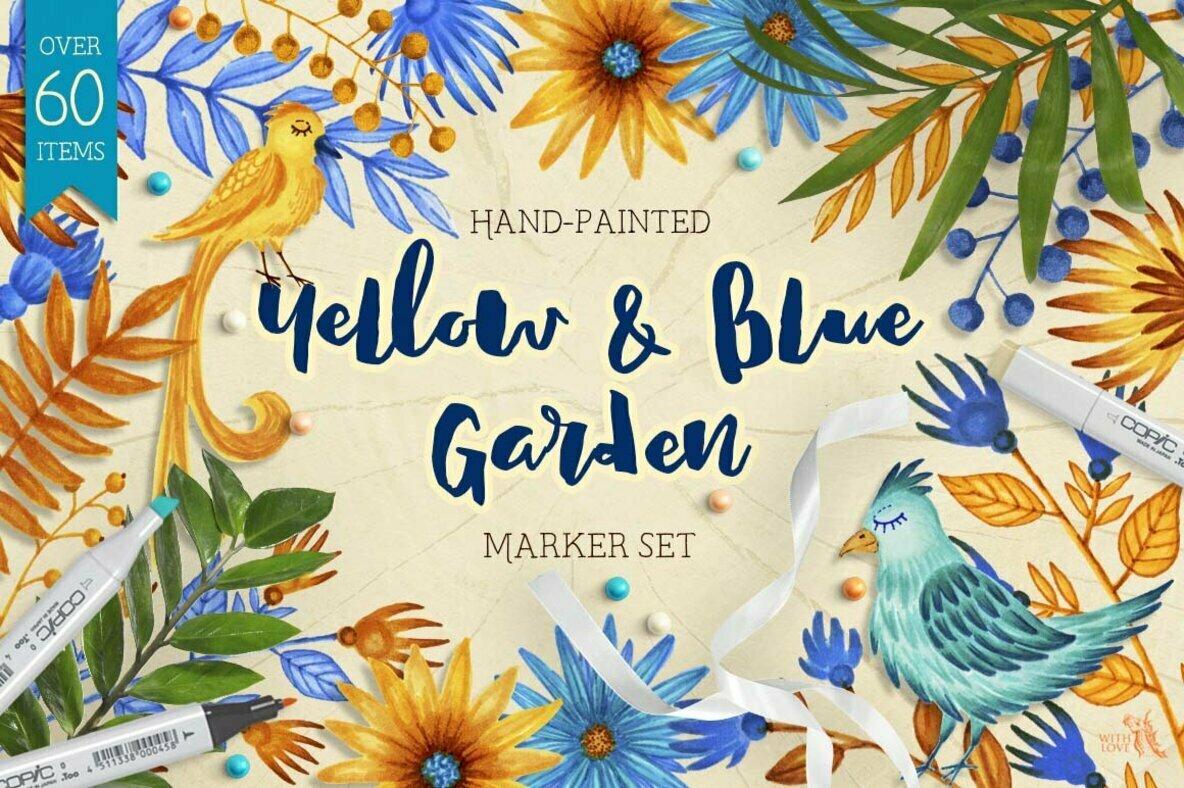 Yellow   Blue Garden Decorative Set