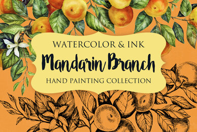 Mandarin Branch Watercolor  Ink