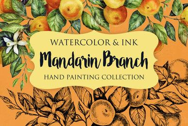 Mandarin Branch Watercolor  Ink