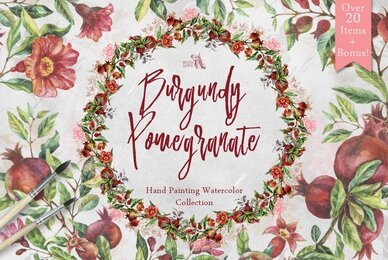 Burgundy Pomegranate Watercolor Set