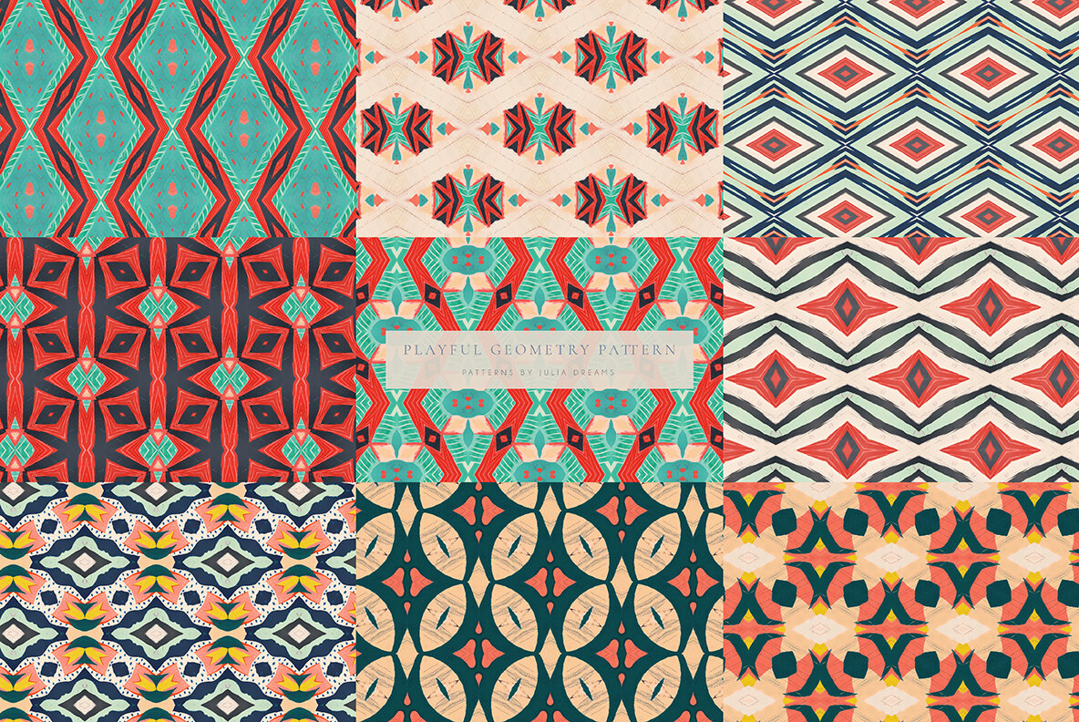 Playful Geometry Seamless Patterns