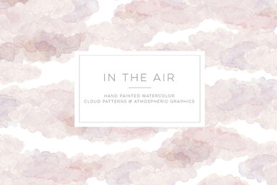 In the Air   Hand Painted Watercolor Cloud Patterns  Graphi