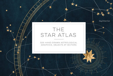 The Star Atlas   Golden Set of Astrology Icons  Backgrounds