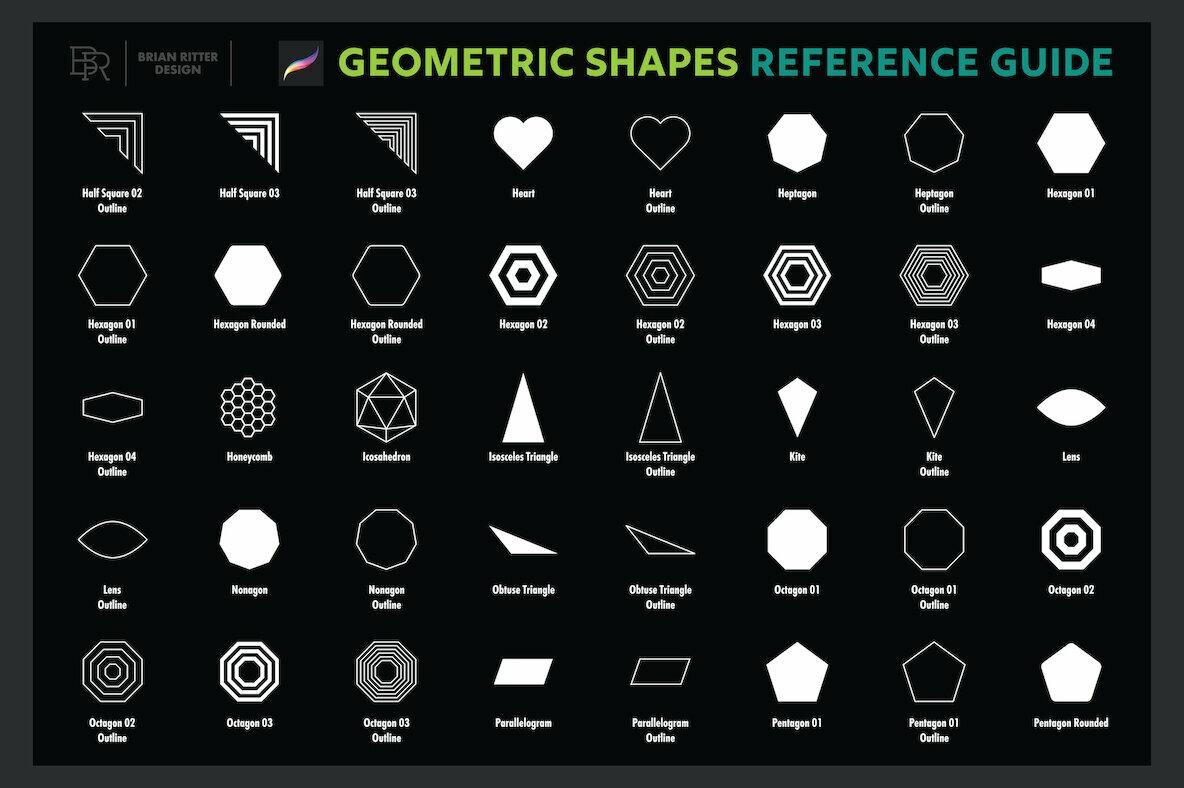 200 Geometric Shapes for Procreate