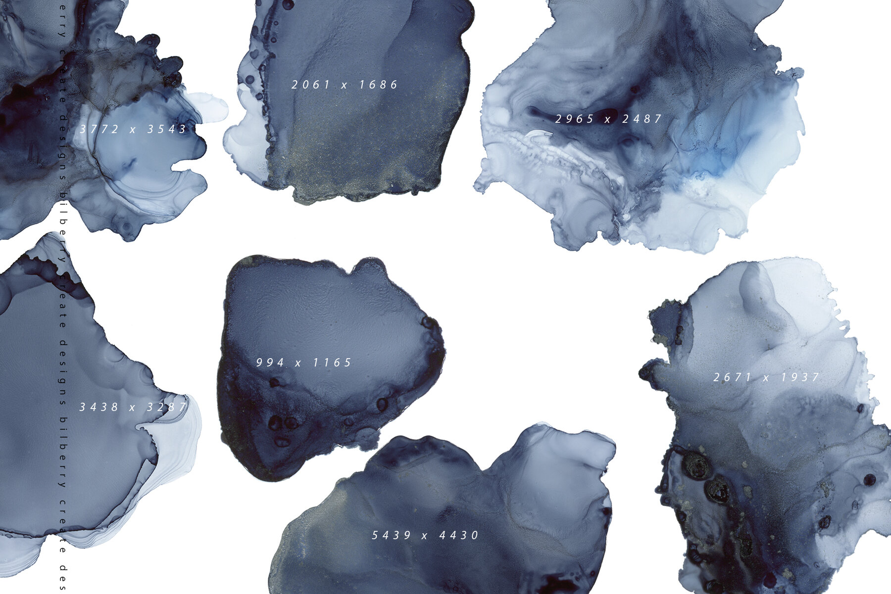 Deep Blue Moon ink texture