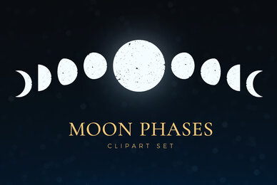 Moon Phases Clipart Set