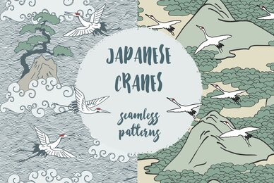 Japanese Cranes   Seamless Patterns