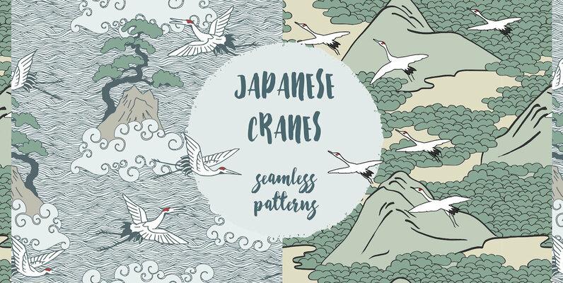 Japanese Cranes   Seamless Patterns