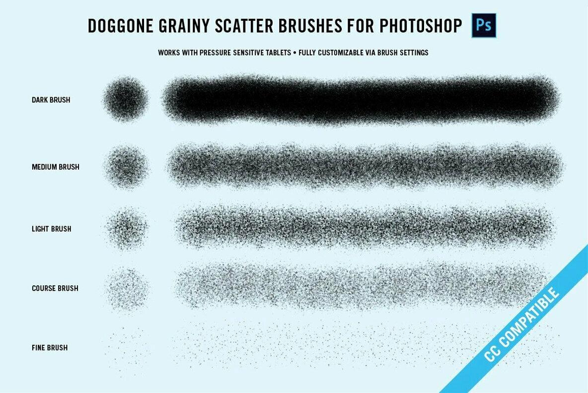 Doggone Grainy Scatter Brushes for Photoshop