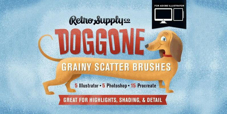 Doggone Grainy Scatter Brushes for Illustrator