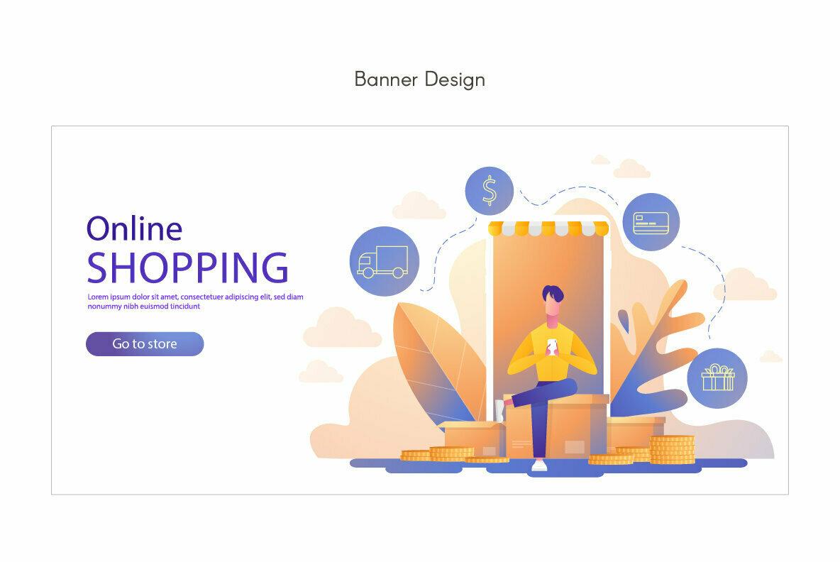 Man Shopping Premium Illustration pack