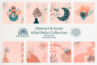 Abstract  Linear Tribal Boho Collection