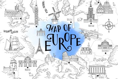 Map of Europe   Hand Drawn Map Set