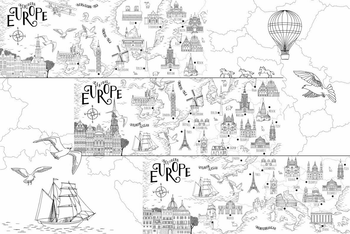 Map of Europe   Hand Drawn Map Set