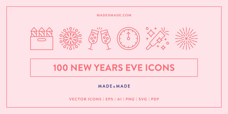 Line Icons     New Years Eve