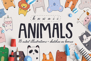 Kawaii Animals   Cartoon Illustration Set