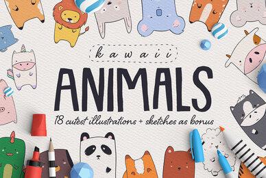 Kawaii Animals   Cartoon Illustration Set