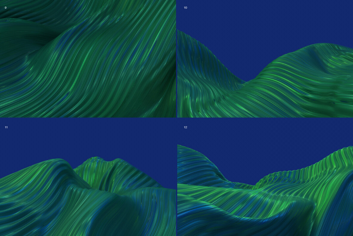 Wavy   Abstract 3D Striped Backgrounds  Blue and Green