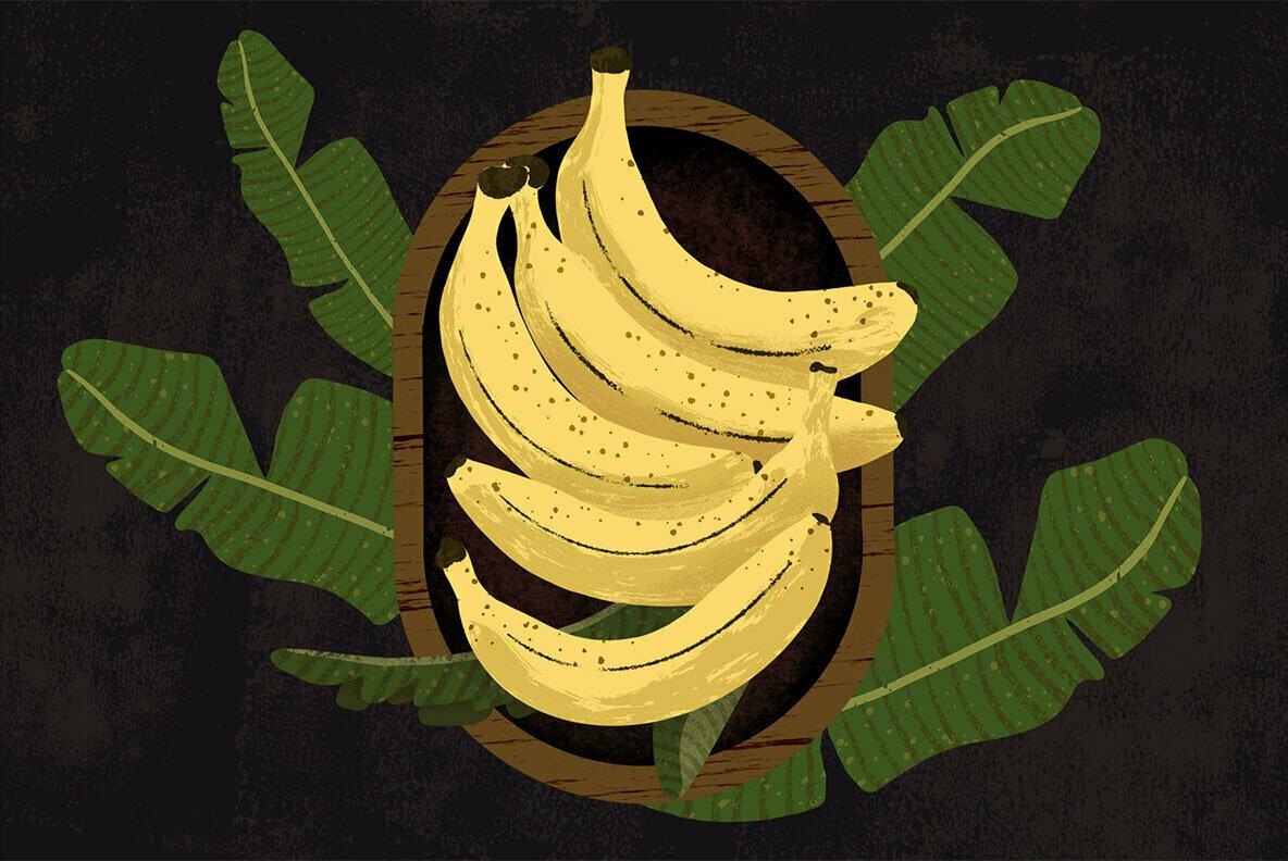 Banana Bowl Doodle Illustration and Patterns