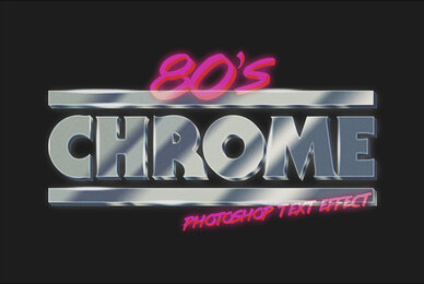 80s Chrome Photoshop Text Effect