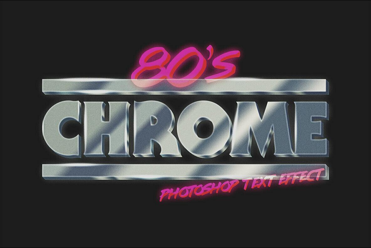 80s Chrome Photoshop Text Effect