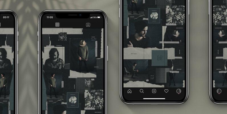 Seamless Dark Theme Instagram Puzzle