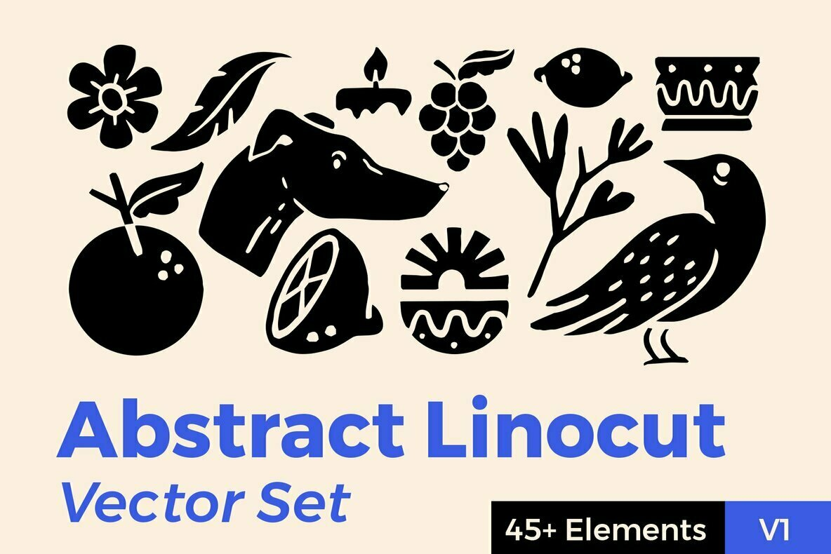 Abstract Linocut Vector Set